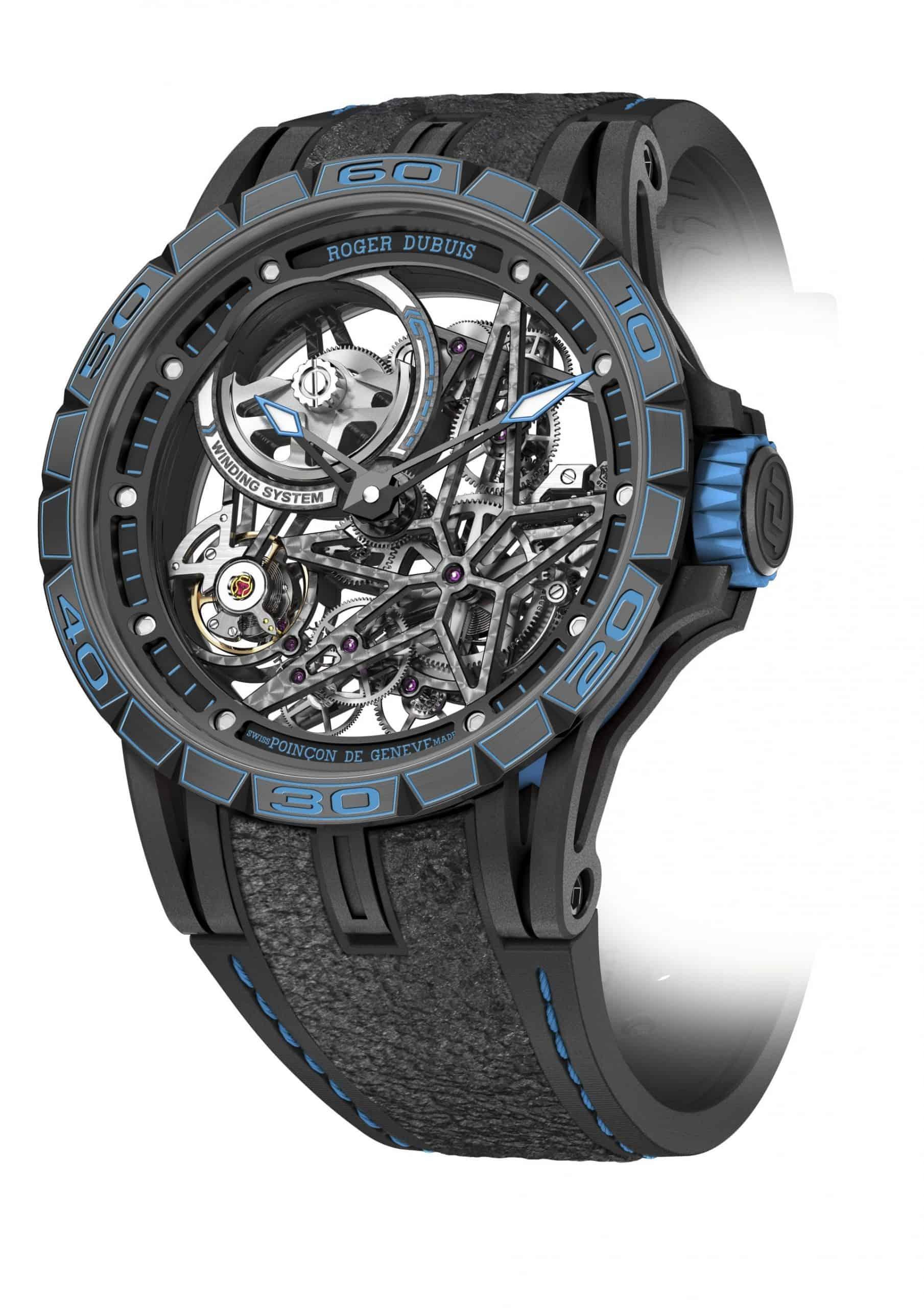 Ein gewichtsoptimiertes, skelettiertes Uhrwerk von Roger Dubuis und ein Armband mit echtem F1-Kautschuk von Pirelli!