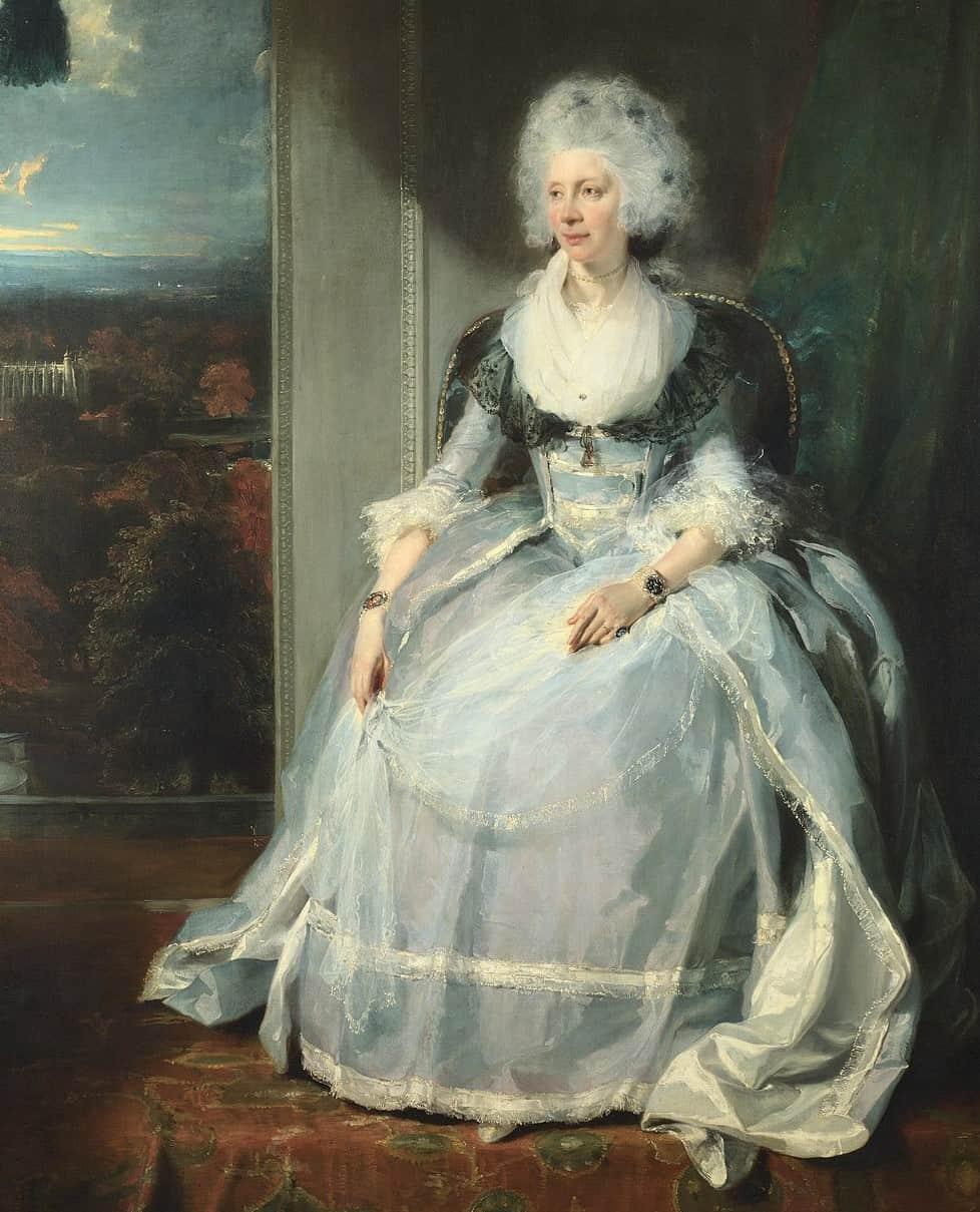 Queen Charlotte, Auftraggeberin der Mudge-Uhr, auf einem alten Gemälde von Thomas Lawrence