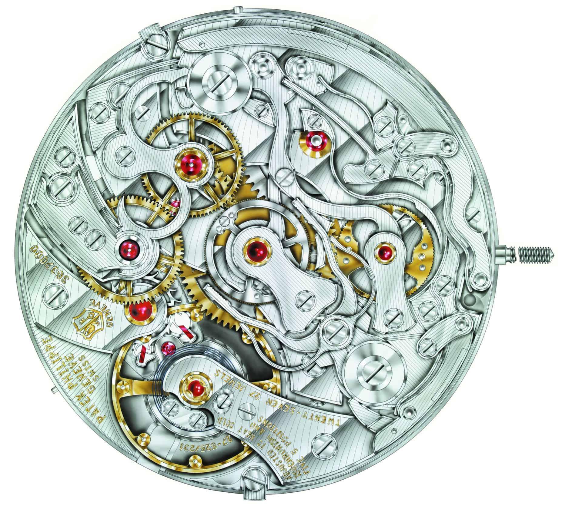 Des Uhrmachers Himmel - feinster Werkbau von Patek Philippe mit den gut sichtbaren Rubin-Lagersteinen