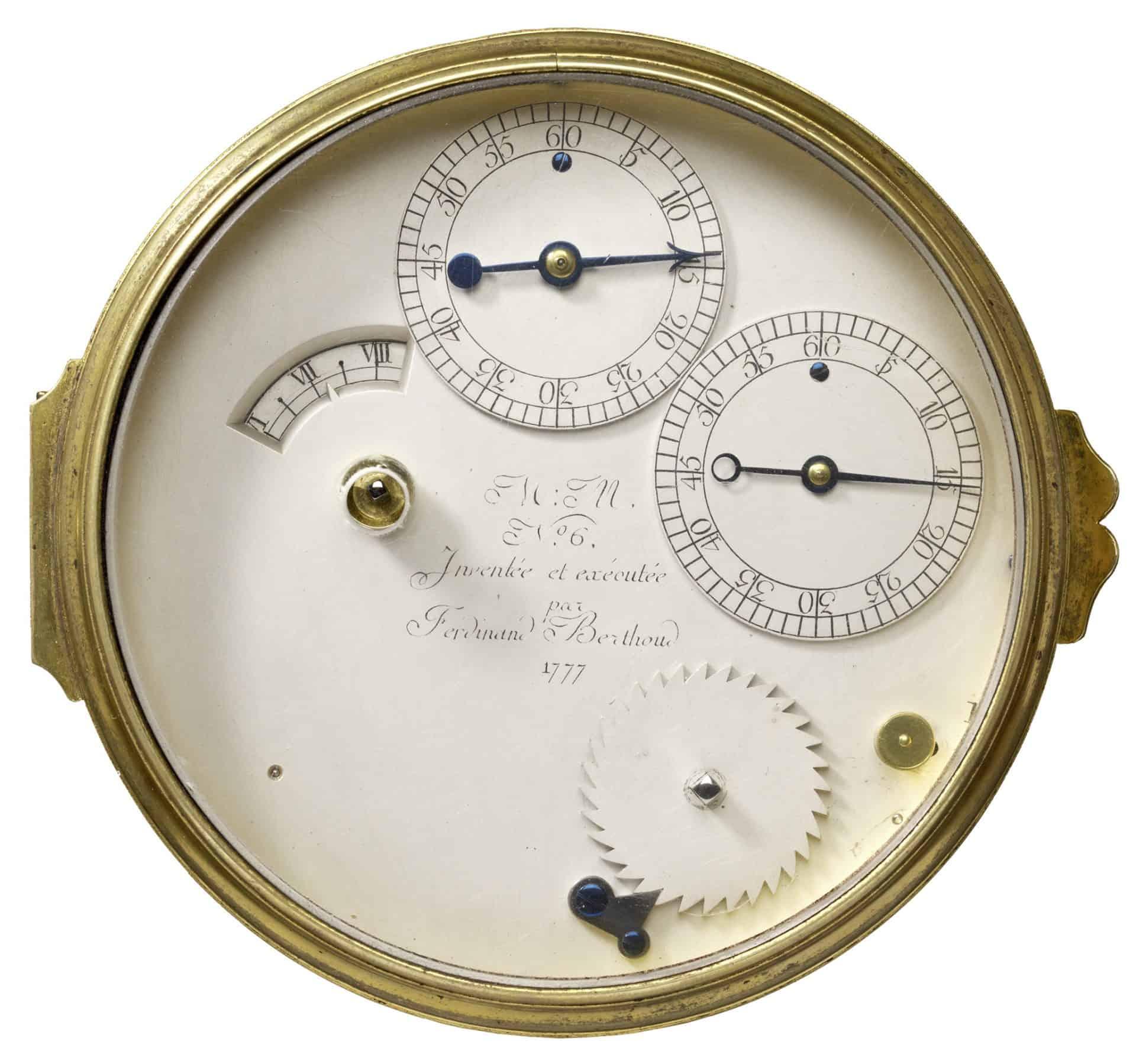Das bereits sehr präzise anzeigende Zifferblatt des Ferdinand Berthoud Marinechronometers