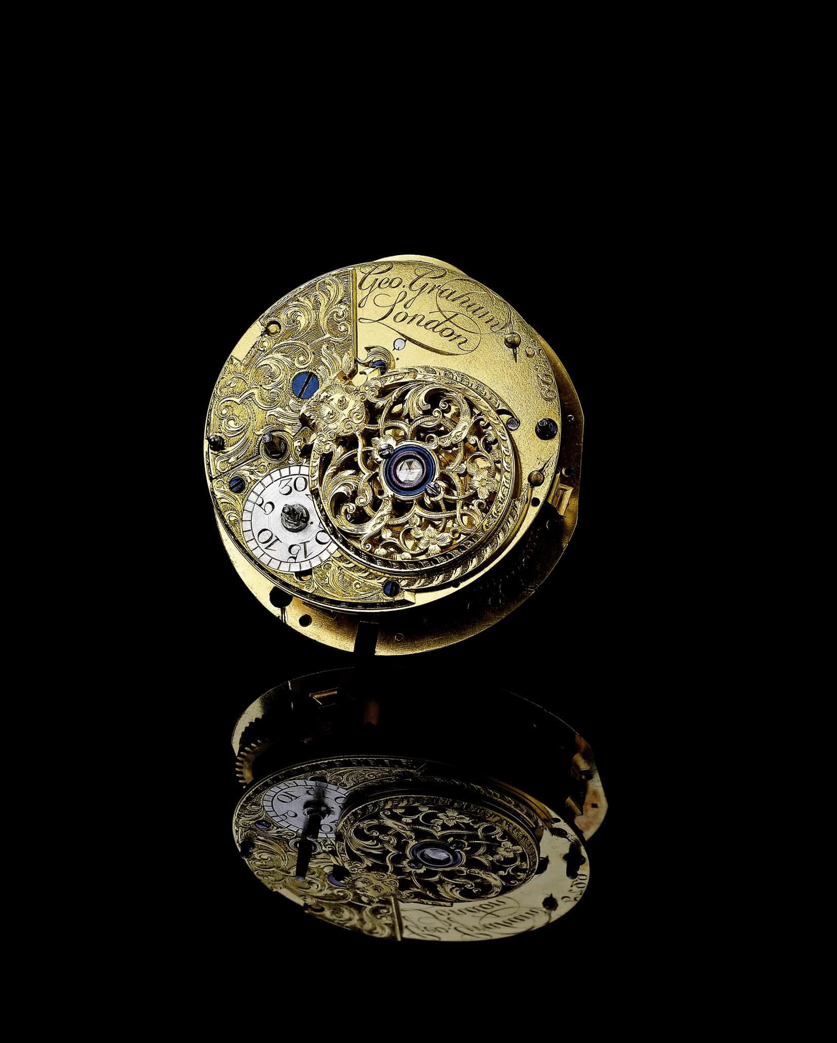 Ein Original-Uhrwerk von George Graham, dem englischen Uhrmacher und Erfinder