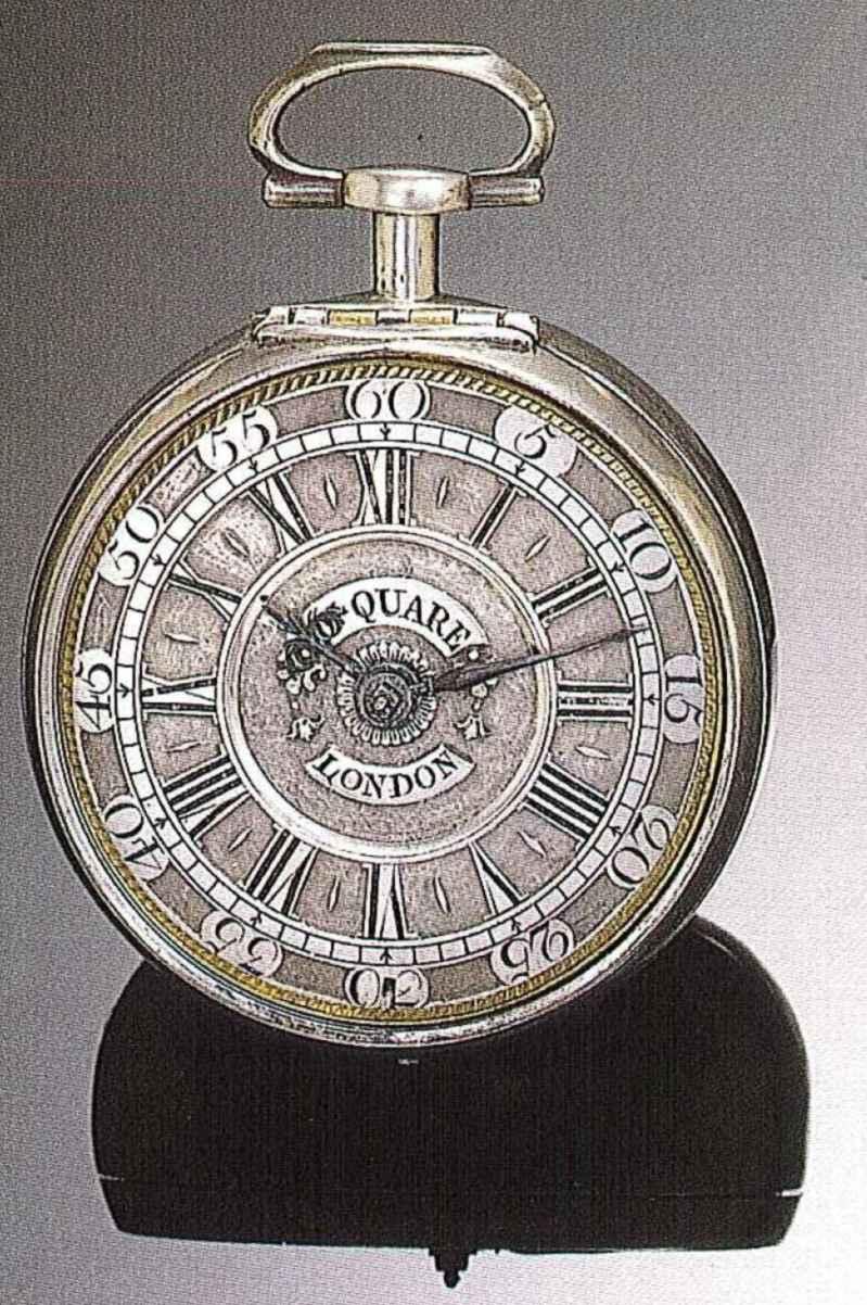 Eine historische Taschenuhr von Daniel Quare. Der Londoner Uhrmacher erhielt den Zuschlag für die Erfindung der Viertelstunden-Repetition