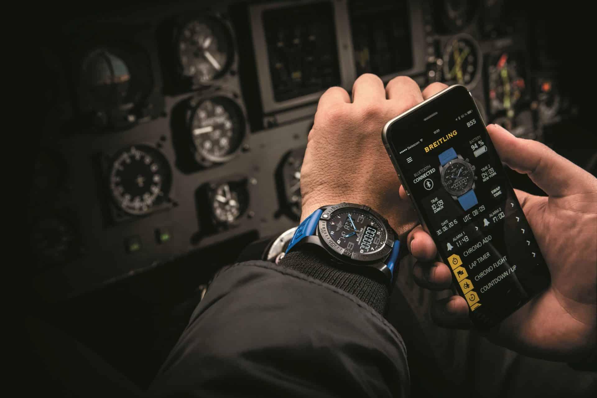 Alles unter Kontrolle im Cockpit - auf der Uhr und auf dem Handy