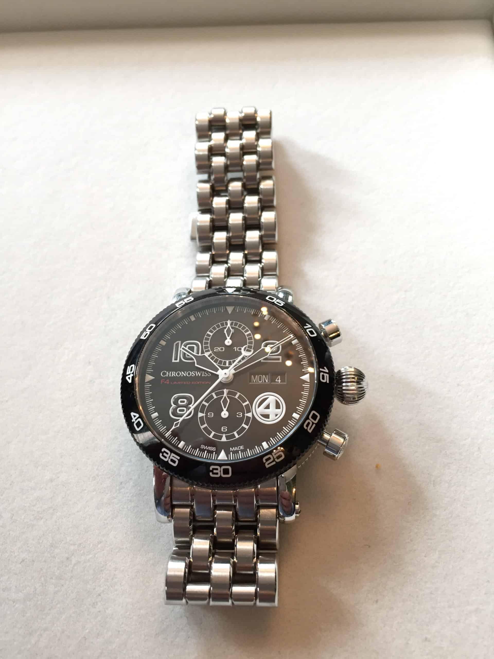 Chronoswiss TimeMaster Day Date F4 Stahl mit DLC Lünette und Gliederband