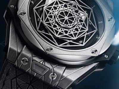 Hublot mit geometrischem ZifferblattHaut Couture: Das Hublot Big Bang Sang Bleu Design geht unter die Haut