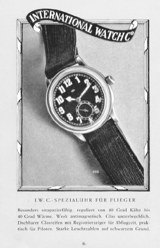 Als Internationalität noch ein Verkaufsargument war - eine Magazinanzeige der ersten IWC Fliegeruhr