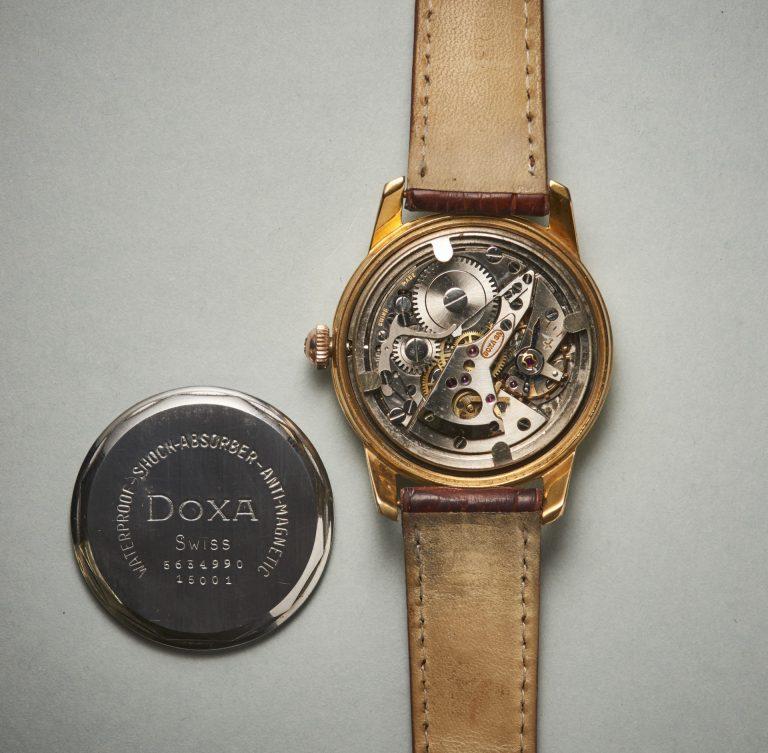 Das patentierte Doxa Werk mit springender Sekunde hat 21 Steine
