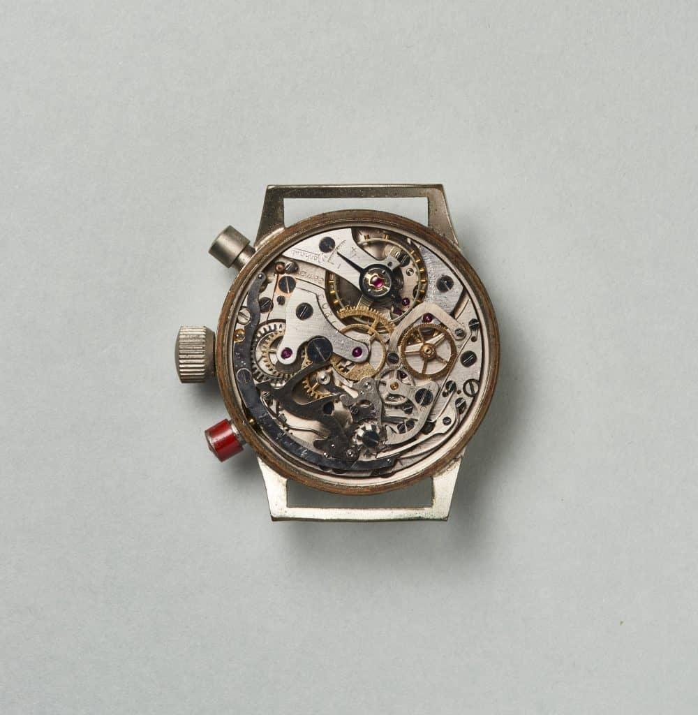 Das Hanhart-Kaliber mit Schaltrad und Kupplung weist Ähnlichkeiten mit Schweizer Kalibern au