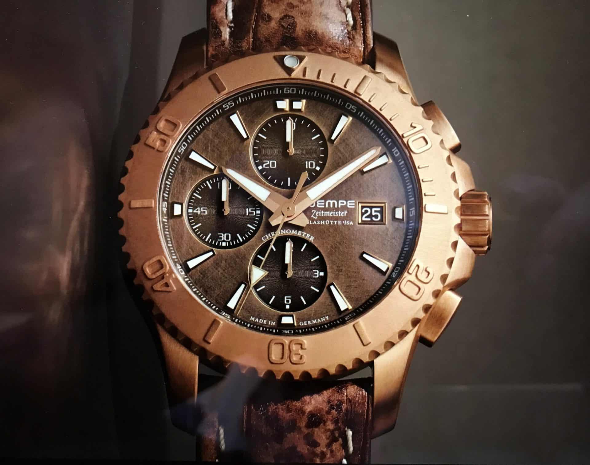 Wempe macht auch in Bronze - die Zeitmeister Glashütte i/SA Sport Taucher Chronograph liegt im Trend