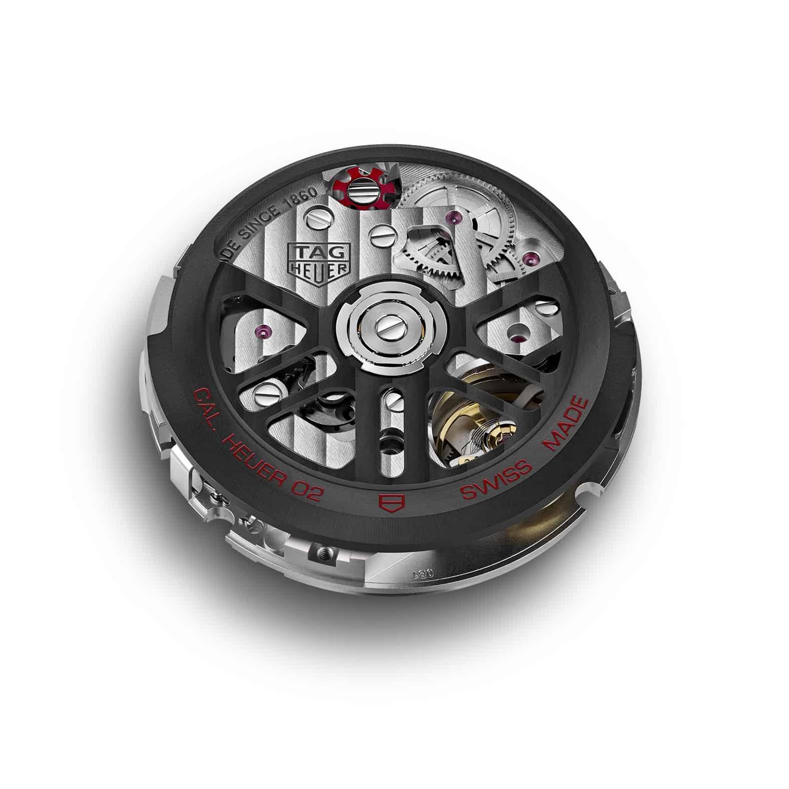 Hypermodernes Automatikkaliber Heuer 02 mit Schaltrad-Chronograph