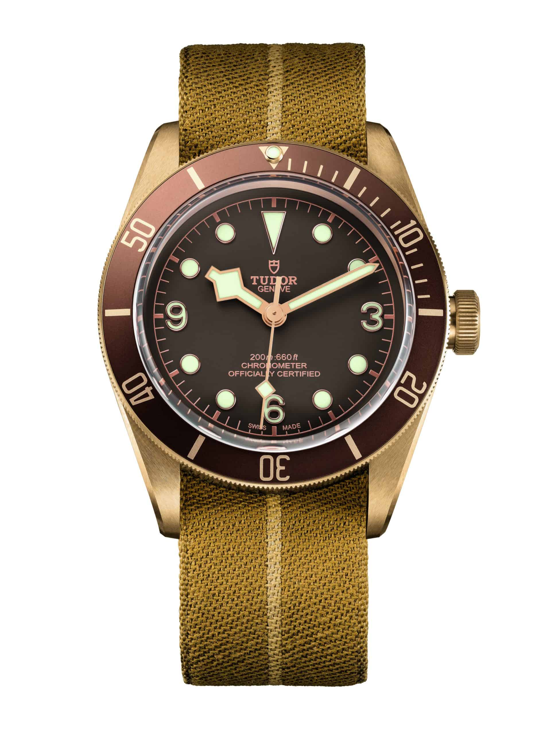 EMBARGO 16 März - TUDOR HERITAGE BLACK BAY BRONZE fabric strap