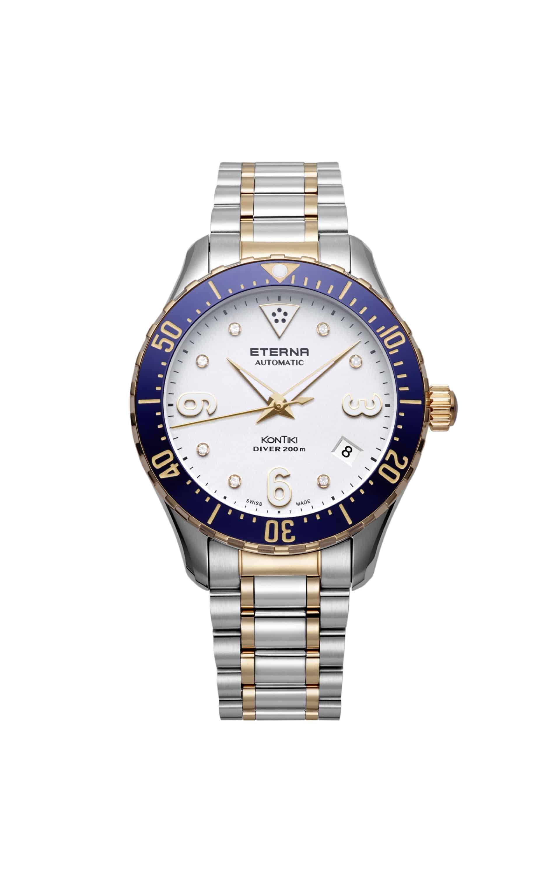 PR_Lady KonTiki Diver_Pictures_Eterna Lady KonTiki Diver_stainless steel PVD 5N, white dial, bicolor bracelet