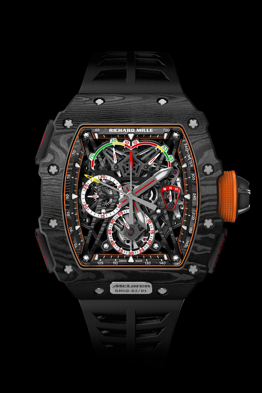 Richard Mille schaftt mit der RM 50-03 MaLaren F1 auch eine Uhr mit Boliden-Gefühl und Speed