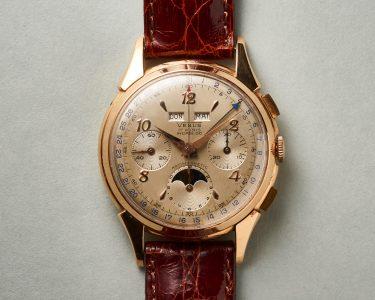 Vintage Uhr Die Venus von La Chaux de Fonds mit Vollkalender und Mondphase