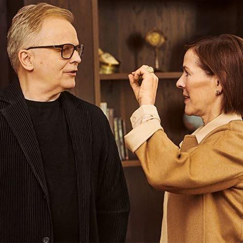 Im intensiven Austausch: Kim-Eva Wempe und Herbert Grönemeyer