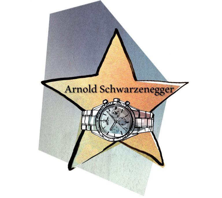 Der Watch of Fame Stern von Arnold Schwarzenegger gebührt ihm als bekennender Uhrenträger