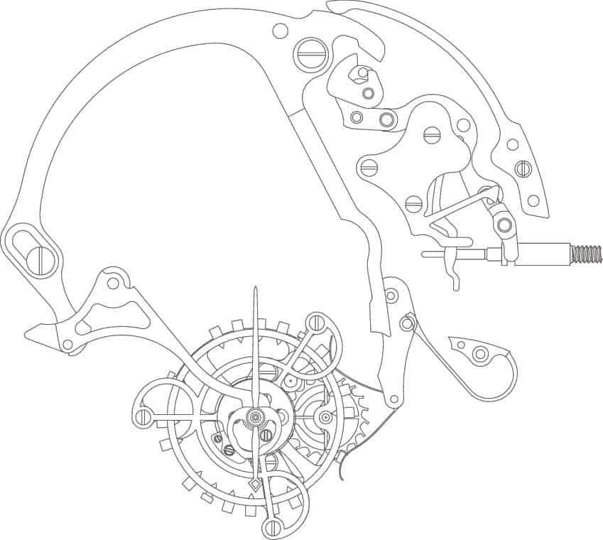 Sekundenstoppmechanismus Lange Kaliber L102.1
