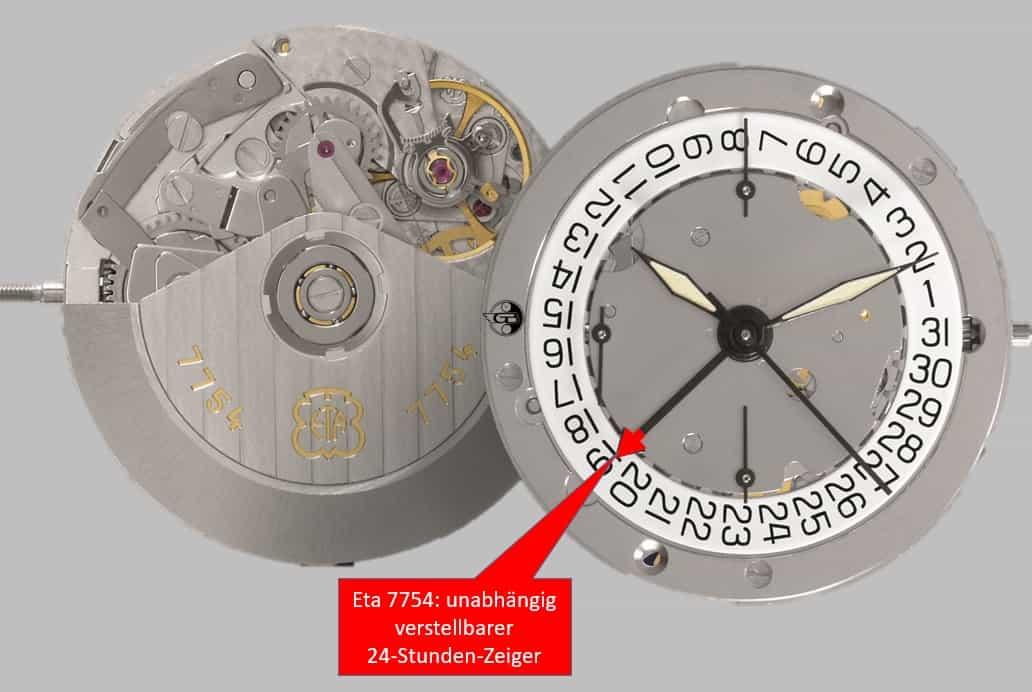 Das Kaliber Eta 7754 mit unabhängig verstellbarem 24-Stunden-Zeiger für eine zweite Zeitzone