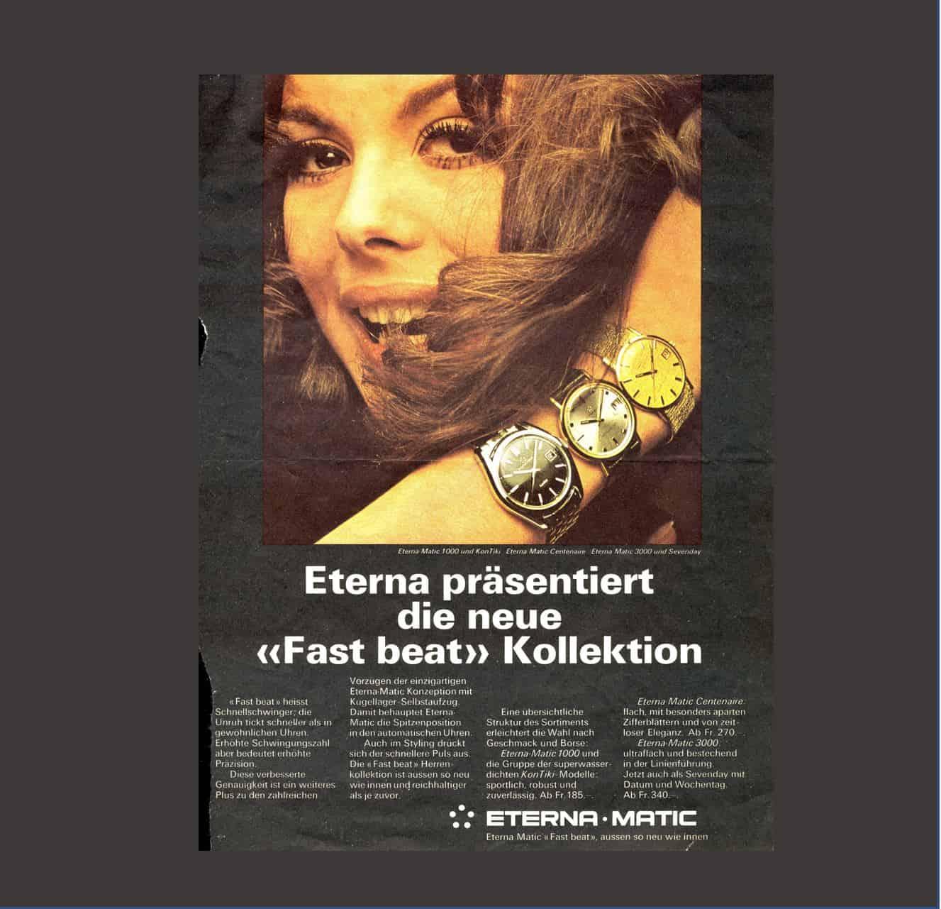 """Dieses """"Fast beat"""" Anzeigenmotiv der Uhrenkollektion von Eterna ließ die empörten Herzen der Leser wirklich schneller schlagen"""