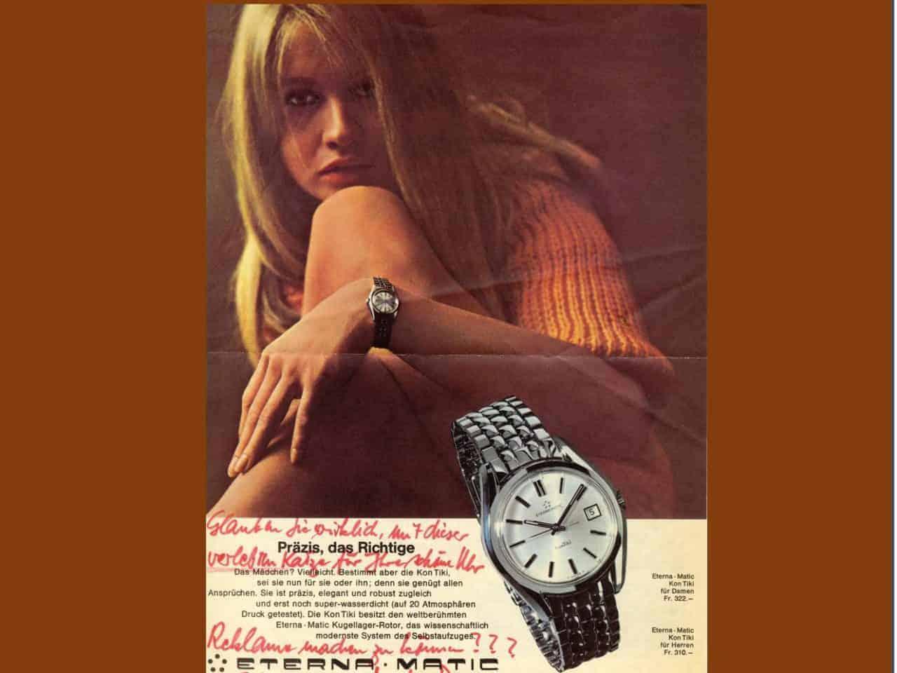 Alte Eterna Kontiki Werbung: Mit dieser verlebten Katze Reklame für eine schöne Uhr machen ?