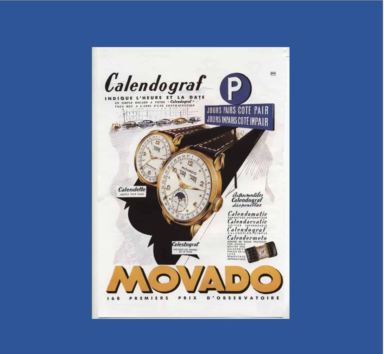 Verheißungsvolle Kommunikation für Movados Calendomatic und CalendografDer Movado Calendograf im Zug der Zeit