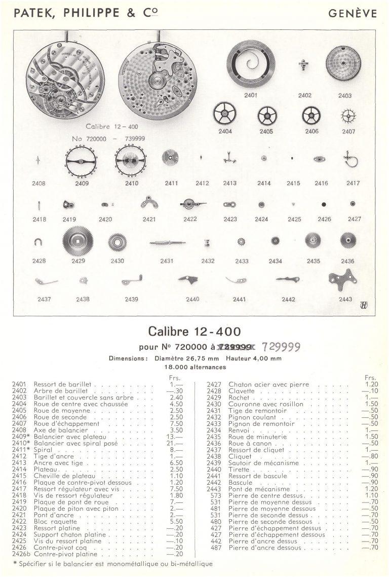 Informationsblatt zum Patek Philippe Kaliber 12-400