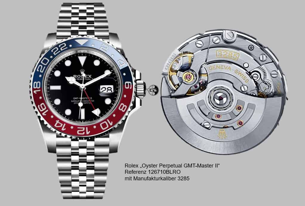 Cool von außen und innen: Die Rolex GMT-Master II 126710BLRO mit dem neuen Kaliber 3285 - Foto (C) Rolex, Montage (C) Uhrenkosmos