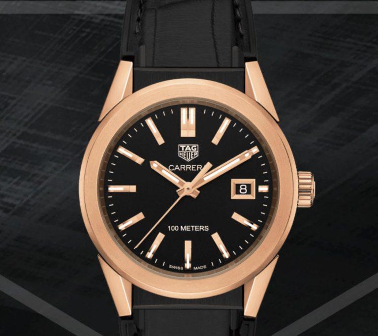 Die TAG Heuer Carrera verbindet Sportlichkeit mit - dank Rosé-Gold und der Größe von 35 mm - Weiblichkeit