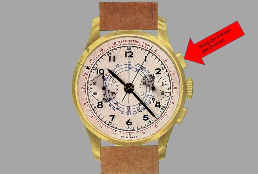 So funktioniert die Telemeterskala des Chronographen 2