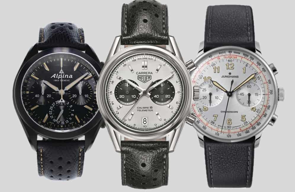 Alpina - Heuer - Junghans - drei Chronographen mit Telemeterskala