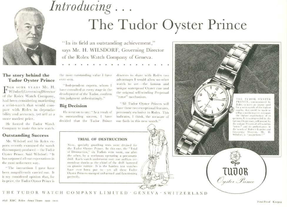 """Im Jahr 1952 warb Tudor so für die """"Oyster Prince"""""""