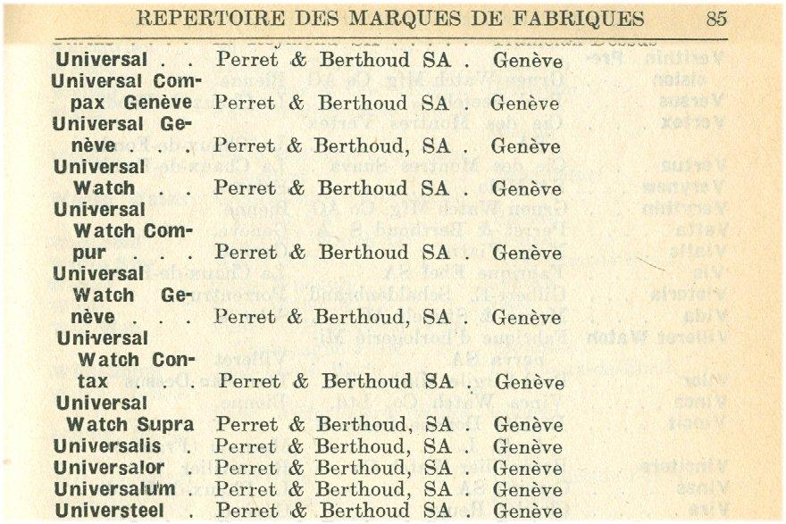 """Descombes & Perret; Berthoud S.A hatte sich gleich eine ganze Reihe von Fabrikmarken schützen lassen. Dazu gehörte """"Compur"""" und """"Compax"""""""