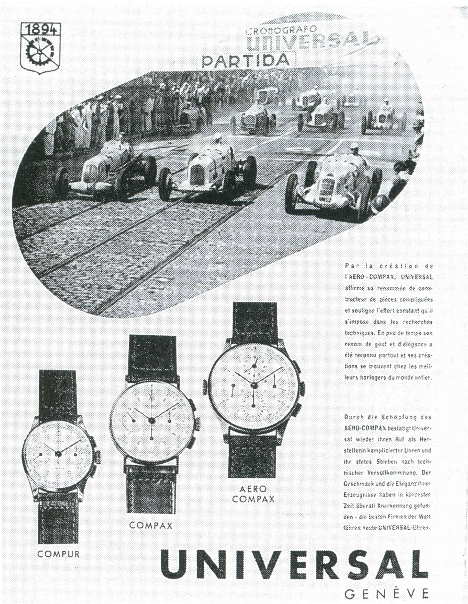 1940 bewirbt Universal Genève die Compur, Compax und Aero-Compax Chronographen