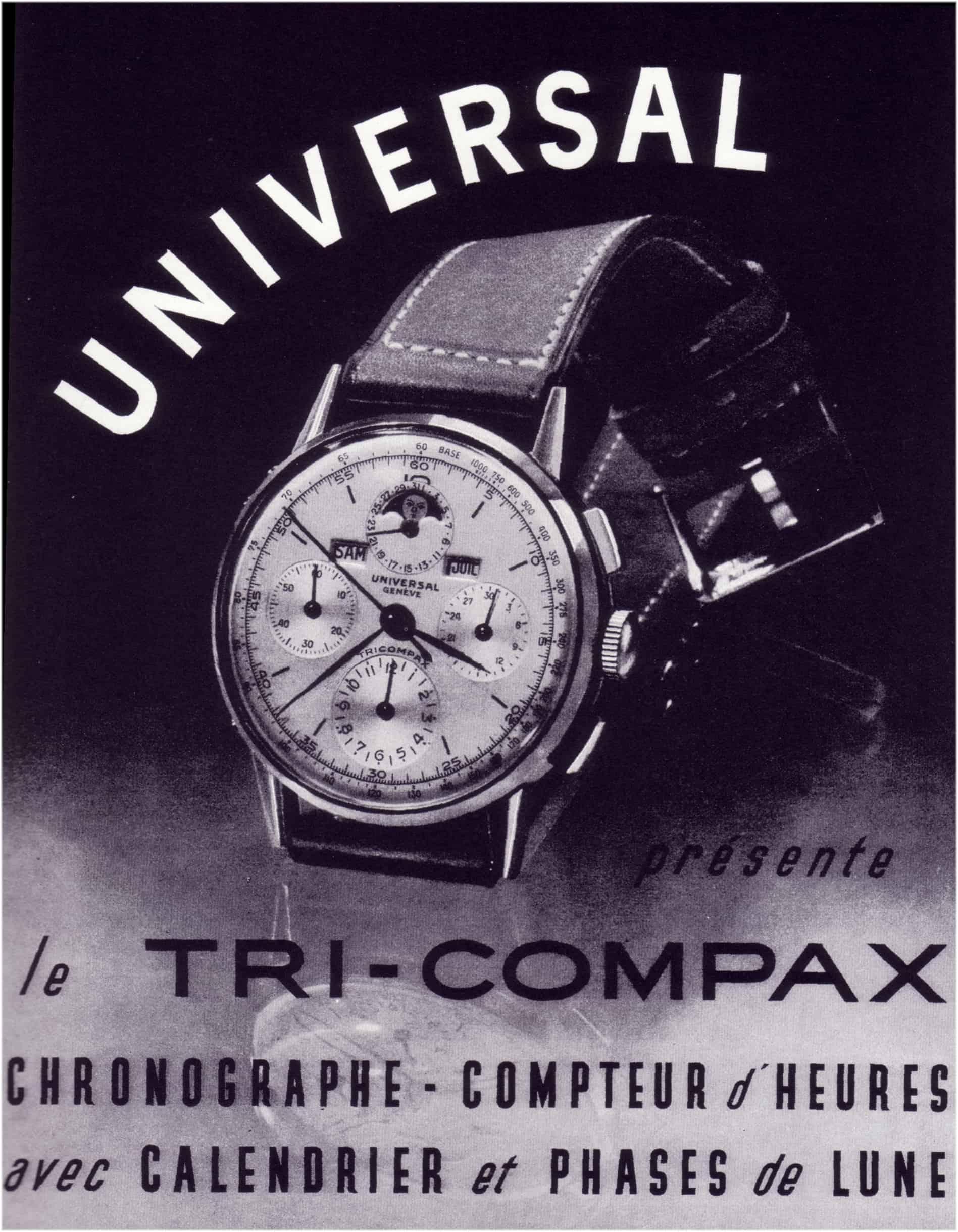 Seit 1944 belegt: der Tri-Compax von Universal Genève. Eine Armbanduhr, drei Funktionen