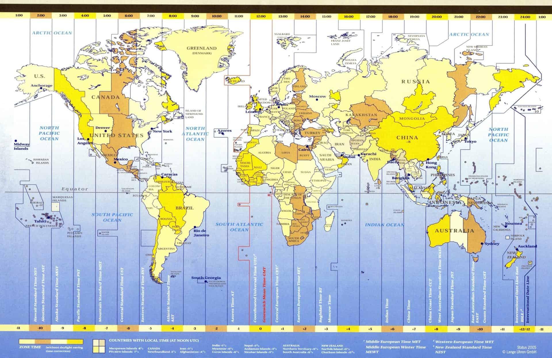 Die Weltzeitkarte von A. Lange & Söhne auf dem Stand von 2005