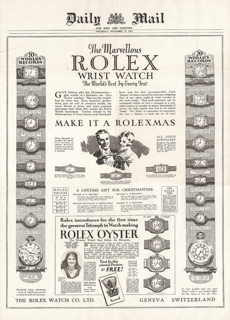 Rolex investierte viel in Werbung, achtete aber auf prominente Platzierung
