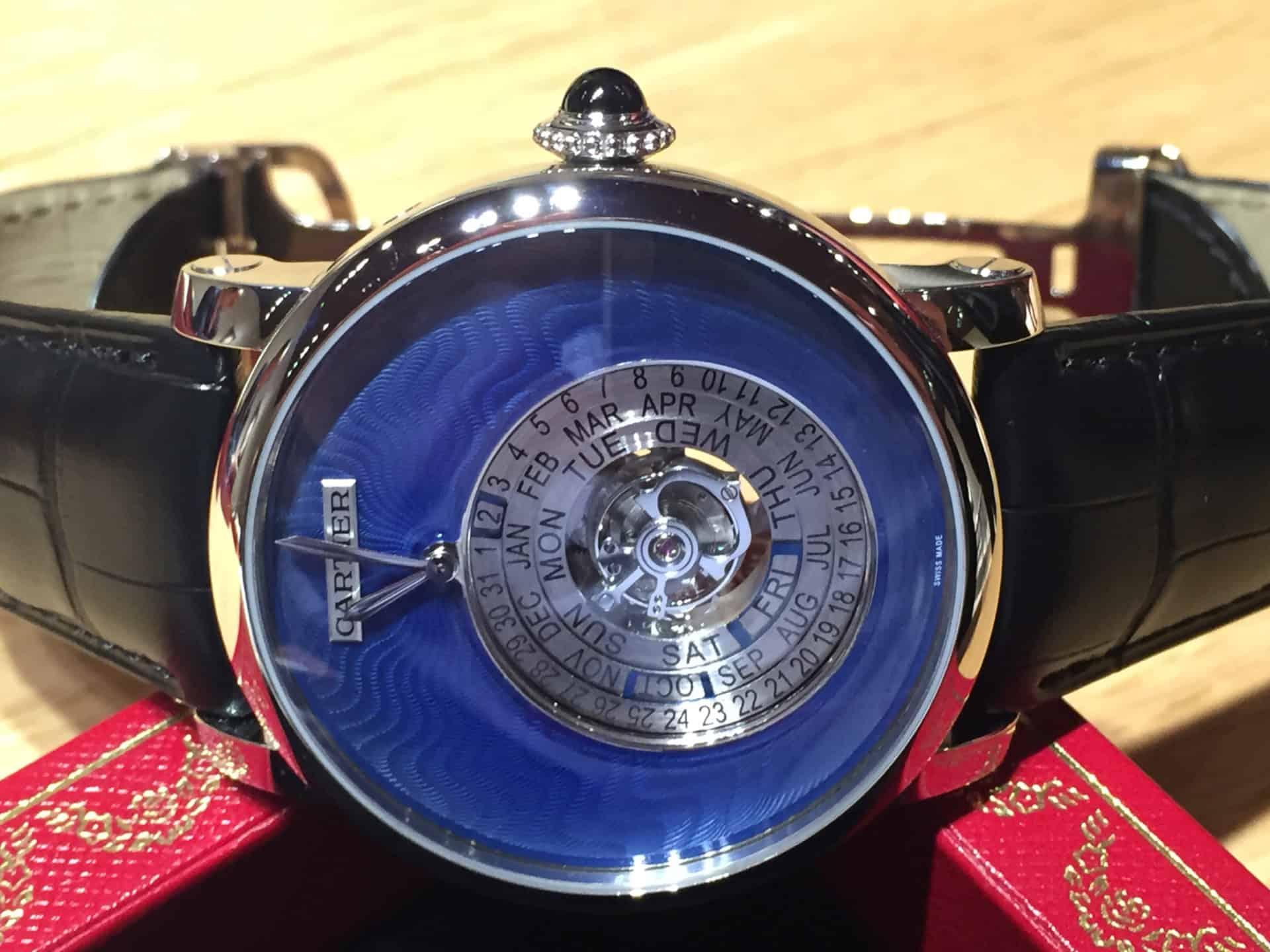 Cartier Astrocalendaire Tourbillon limited. Und wenn Cartier limited meint, ist dies mit 5 Exemplaren auch tatsächlich knapp bemessen. Also in der Stückzahl.