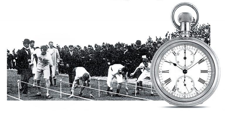 Klassische Zeitmessung per Stoppuhr im Jahre 1896