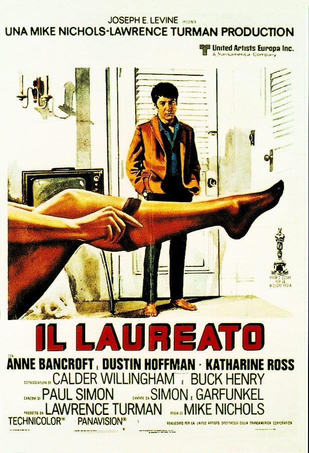 """Das italienische Filmplakat zu """"Il Laureato"""" - """"Die Reifeprüfung"""", hieß er in Deutschland und war ein großer Erfolg für Dustin Hofmann und Anne Bancroft"""