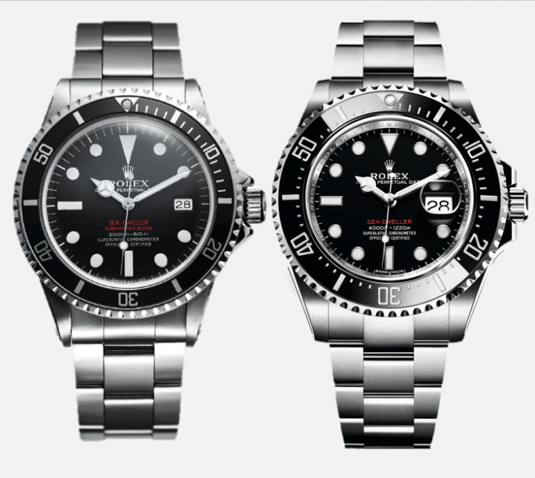 Im Unterschied zum Modell von 1967 ist die Rolex Sea-Dweller von 2017 größer. Auch der Kronenschutz und die Lupe haben die Uhr verändert.