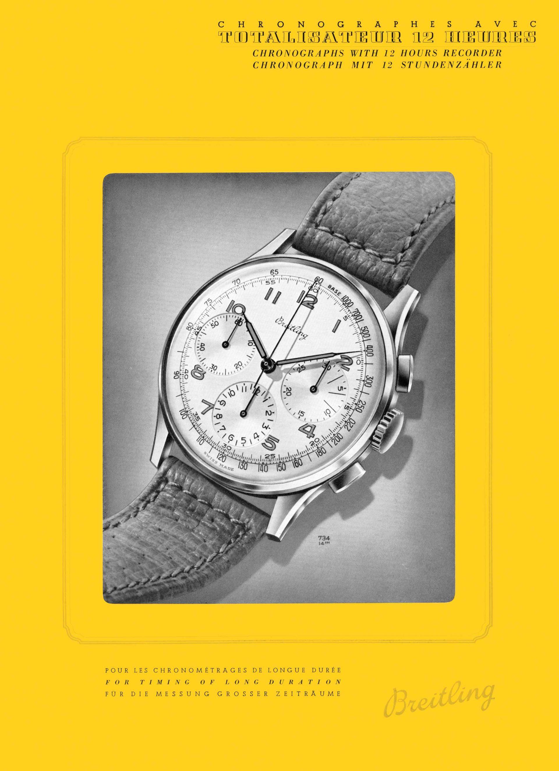 Eine klassisch gestaltete Breitling-Anzeige aus dem Jahr 1946