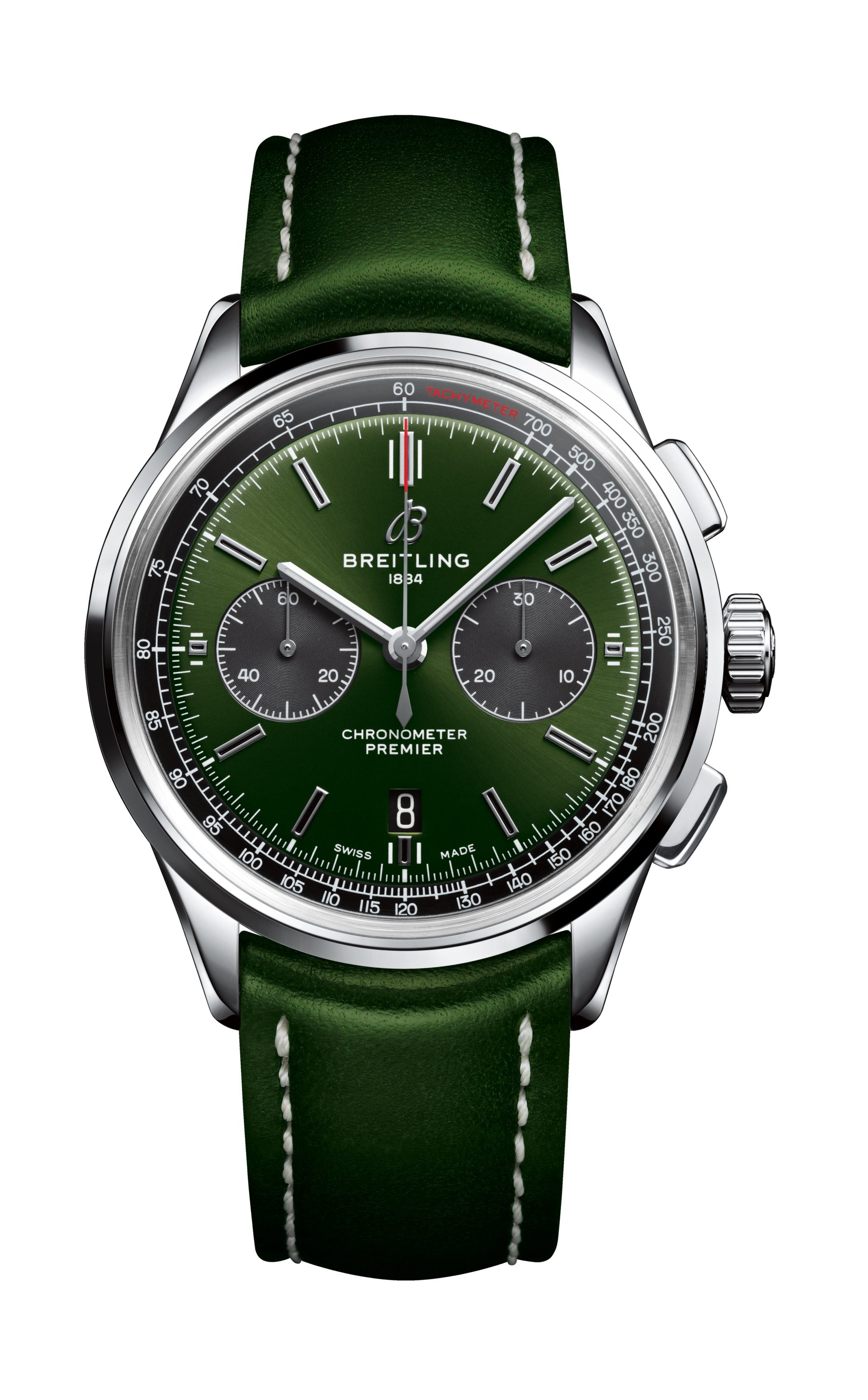 Überzeugendes Design der Breitling Premier B01 Chronograph 42 Bentley British Racing Green mit Lederband
