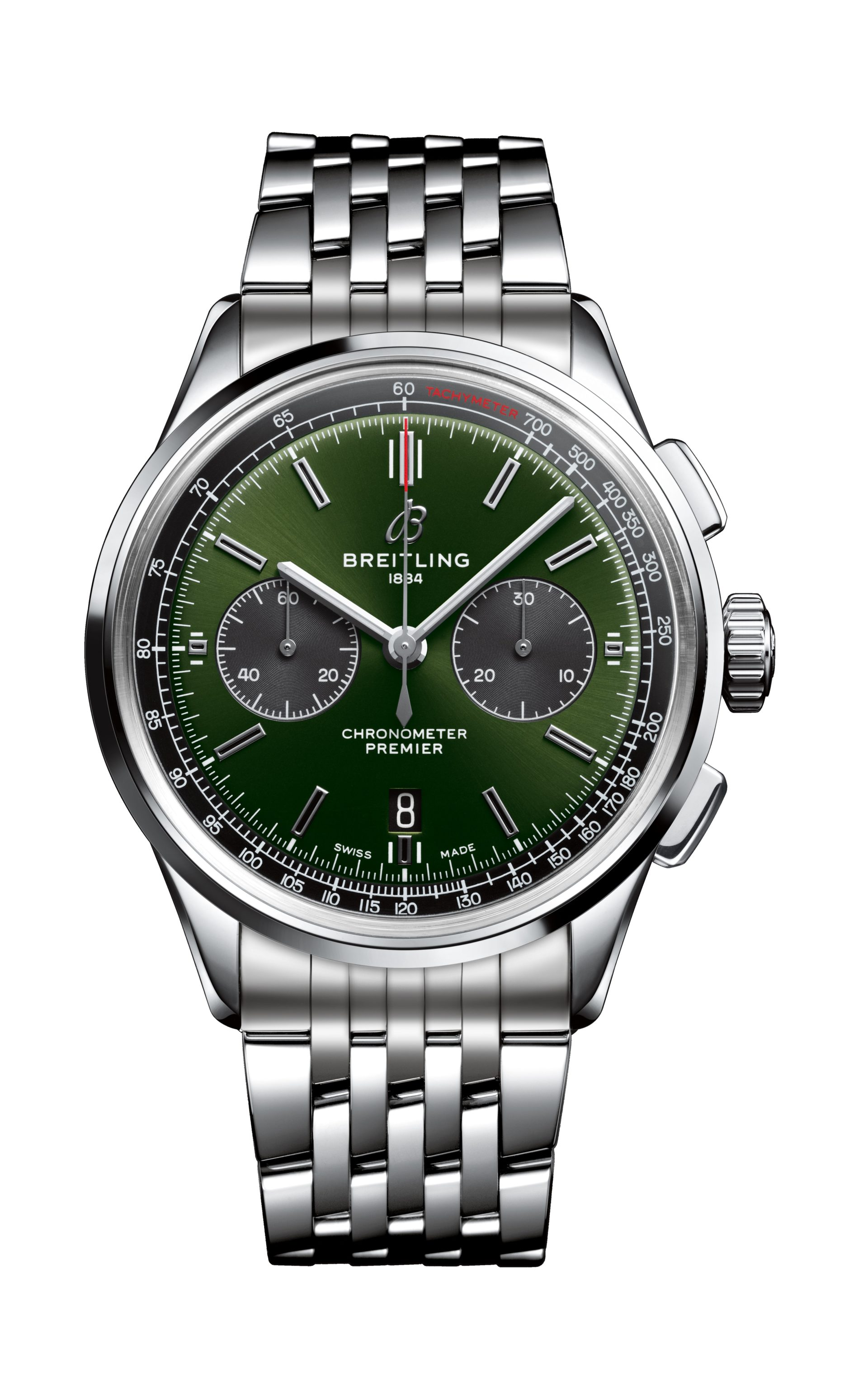 Auch mit Gliederband ist die Breitling Premier B01 Chronograph 42 Bentley British Racing Green attraktiv