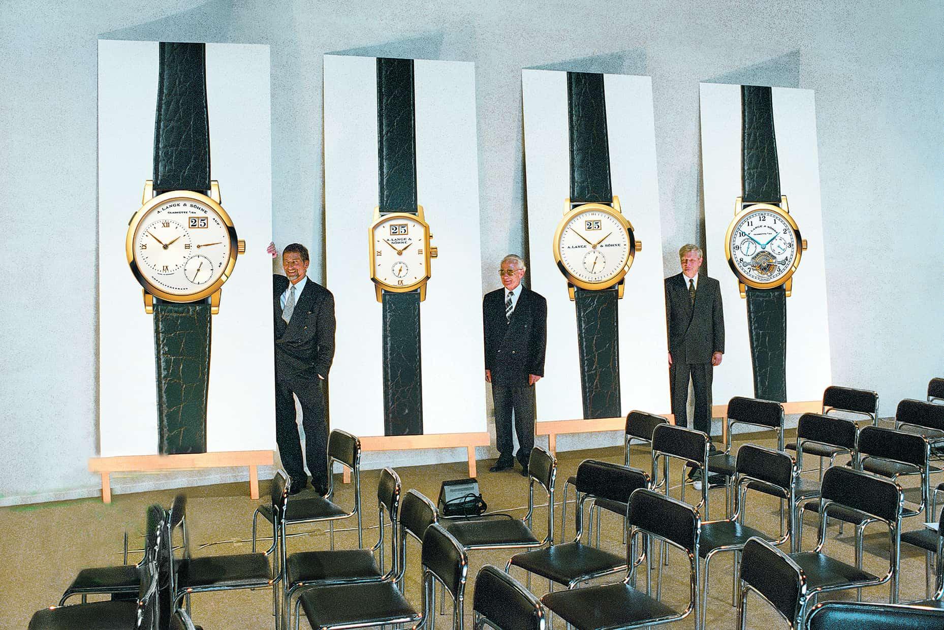 Günter Blümlein, Walter Lange und Hartmut Knothe (v.l.n.r.) präsentierten 1994 mit der Lange 1 die erste neuzeitliche Armbanduhrenkollektion von A. Lange & Söhne.