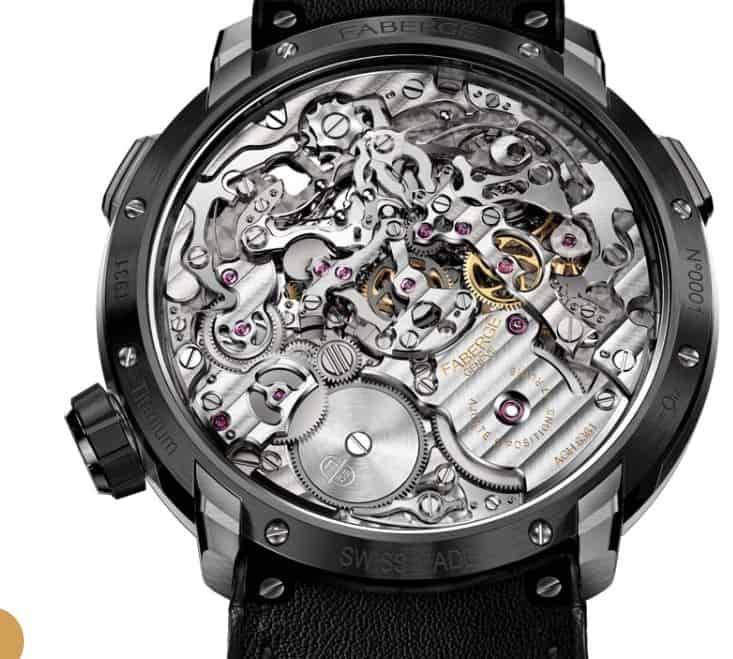 AgenGraph-Kaliber-6361, so heisst das aufwendige und komplizierte Uhrwerk des Fabergé Visionnaire Chronograph