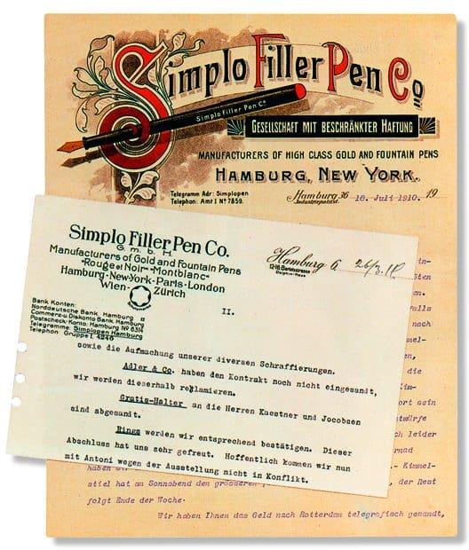 Simplo Filler Pen - Briefköpfe 1908-16