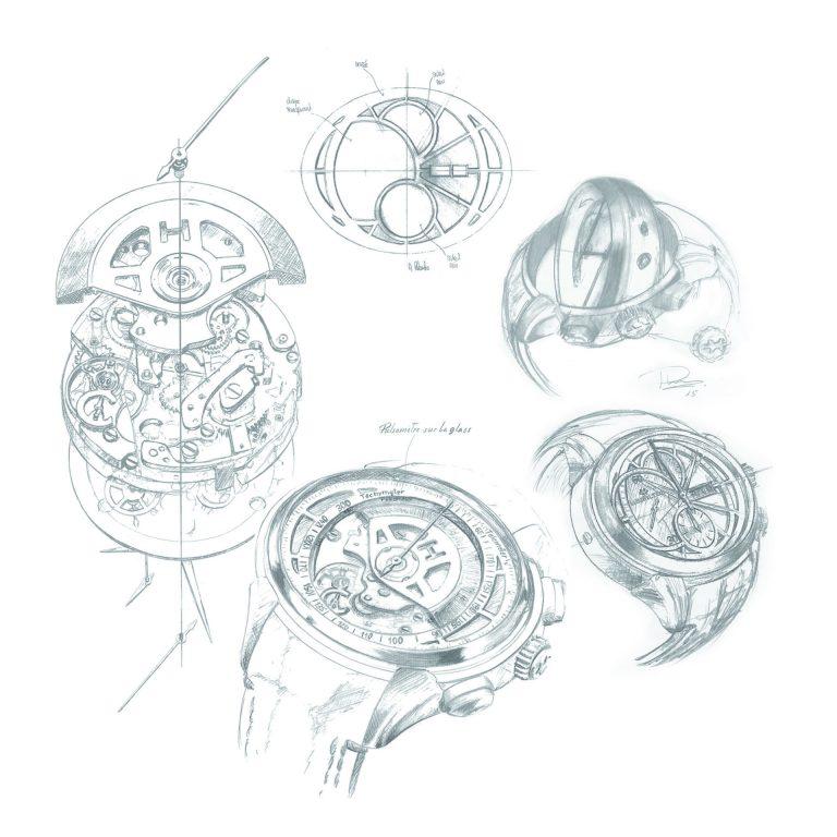 Die Zeichnung erklärt die Dreh-Funktionalität von Zifferblatt zu Zifferblatt