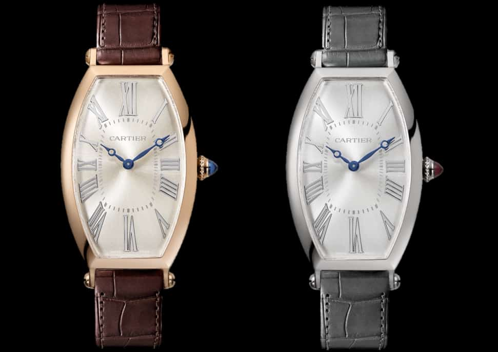 Cartier Privé im Jahr 2019: links Tonneau in Rotgold, rechts Tonneau in Platin