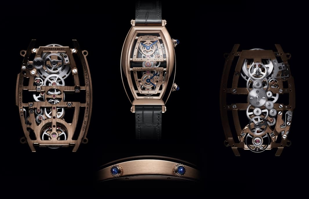 Die Cartier Privé Tonneau Dual Time 2019 in Rotgold mit skelettiertem Manufakturkaliber 9919 MC