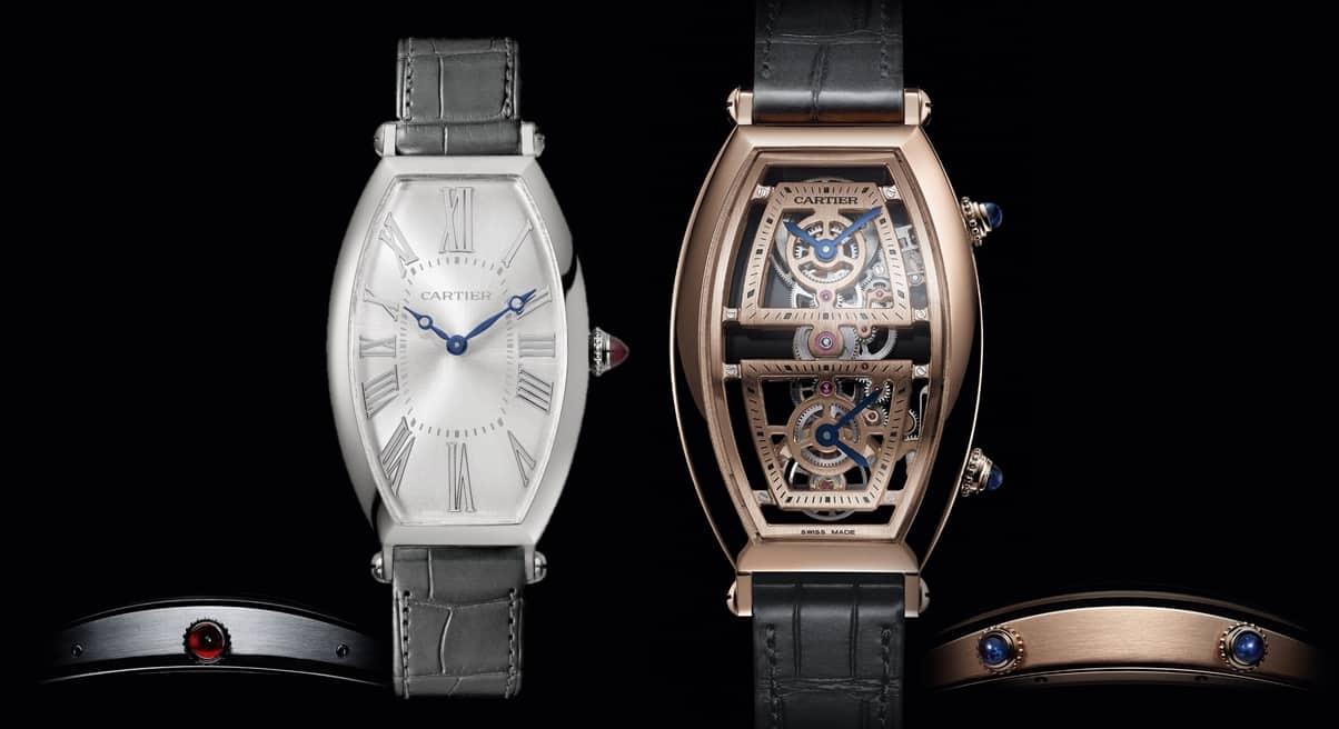 Zwei Preziosen der Linie Cartier Privé 2019: Tonneau Handaufzug Platin und Dual Time Rotgold